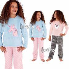 Girls Unicorn / Owl Applique Motif Soft Fleece Pyjamas Pyjama  PJs 5 - 13 Years