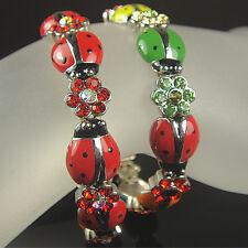 RED OR MULTICOLOR CRYSTAL LADYBUG STRETCH BRACELET MADE WITH SWAROVSKI ELEMENTS