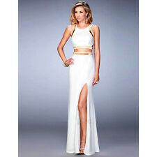Suzanjas zweiteiliges Abendkleid in Weiß/Gold- Croptop mit Rock/ Größe M - XL