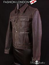 Men's Western Trucker Leather Jacket Brown Skipper Cow Leather Shirt Jacket