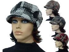 Damen Mütze Schirmmütze Ballonmütze Boucleoptik kariert warm trendig Farbauswahl