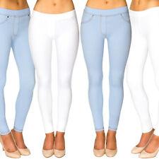 a1ee06438f7860 Ladies Skinny Fit Pull On Women's Mid Waist Stretch Denim Look Leggings  Jeggings