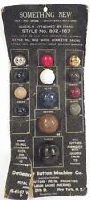 Vintage Defiance Button Machine Co Pivot Back Metal Buttons Salesman Sample Card