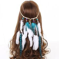 White Feather Headband Festival Women Carnival Hippie Boho Tassels Hair band