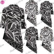 Womens Ladies Leaf Printed Asymmetric Side Slant Shirt Dress Roll Up Sleeves Top