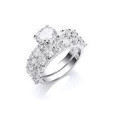Conjunto De Novia 1 Quilates Solitario Anillo de compromiso Anillo de boda de plata esterlina