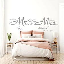 Wandtattoo AA341 Schlafzimmer Mr und Mrs mit Wunsch-Namen und Datum Spruch