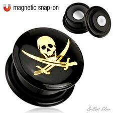Ohrpiercing Flesh Plug Tunnel Ohrstecker Acryl Skull Totenkopf Pirat Magnet