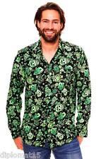Funky Hawaiihemd Longsleeve Skull Grün
