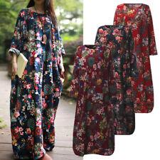 ZANZEA AU 8-24 Women Long Sleeve Casual Loose Maxi Kaftan Plus Size Floral Dress