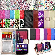 Para Alcatel varios teléfonos móviles Billetera Cuero Estuche Con Tapa + Lápiz Táctil