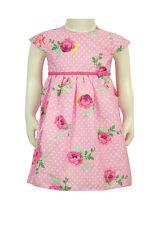 Baby Girls Rose Print Designers Club Cotton Dress 0-3, 3-6, 6-9, 9-12 &12-18mth