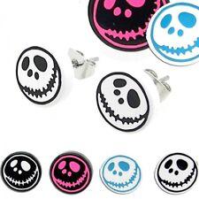 2x Ohrstecker Ohrringe Ohr Plug Motiv Fratze Gesicht Schwarz Weiß Blau Pink