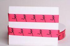"RUNNING GIRL HOT PINK 7/8"" Grosgrain Ribbon - Various Yards SHIP FROM USA"