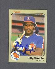 Billy Sample signed Texas Rangers 1983 Fleer card