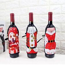 2pcs Dinnerware Santa Christmas Tableware Decor Wrap Cover Wine Bottle Apron