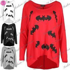 Women Batman 3/4 Sleeves T Shirt Ladies Dipped Hem Baggy Oversized Casual Top