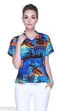 Women Ladies Aloha Shirt Blouse Cruise Luau Hawaiian Party Sunset Blue Tropical