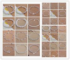 925Sterling Silver Fashion Jewelry Men Women Bracelet Chain 8inch HY033-1