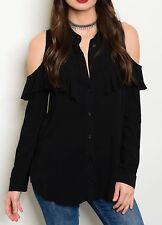 Black Cut-OutPeek Cold Shoulder Button Front Long Sleeve Top Ruffle S M L