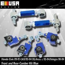 Honda Civic 1991 1992 1993 Front & Rear Adjustable Camber Kits Blue EMUSA