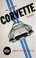 SPEED CORVETTE CHEVROLET AMERICA TRUE SPORT CAR AUTOMOBILE VINTAGE POSTER REPRO