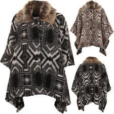 Warm Faux Fur Collar Aztec 3 Button Baggy Cape Shawl Poncho Jacket