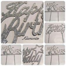 ACRYLIC BIRTHDAY WEDDING Cake Decor Pick Topper Spark Glitter Party Favor Gift