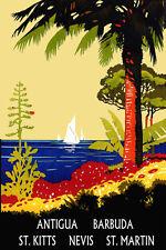 Antigua Barbuda St. Martin Nevis St Kitts Travel Tourism Poster Repro FREE S/H
