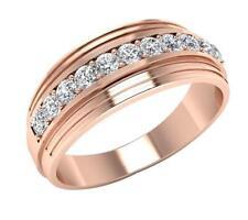 Men's Wedding Ring VVS1 E 0.55 Carat Round Cut Diamond 14K Rose Gold 7.70MM