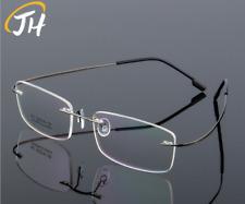 Flexible Memory Titanium-Alloy Rimless Glasses Eyeglass Frames Women Men RX-able