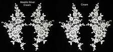 2 X novia de encaje y apliques Motivo Floral Con Cable De Boda Talla: 26cmx 14cm 2 Col: #4