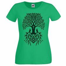 Ladies Tree Of Life Heart Spiritual Pagan Green T-Shirt