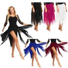 Women Chiffon Skirt Lyrical Ballet Belly Dance Dress Asymmetrical Hem Dancewear