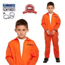 Kids Prisoner Costume Jailbird Orange Jumpsuit Handcuffs Fancy Dress 4-12 Years