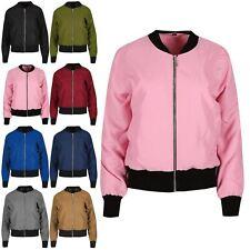 Womens Vintage Plain Zip Up Layered Contrast Collar Bomber Jacket Premium