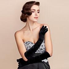 Velvet Gloves Opera Elbow Long Elastic Stretchy Velours Flannel Black