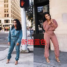 Women Fashion Long Sleeve Solid Color Long Jumpsuit Casual Fall Clubwear 2pcs