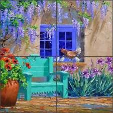 Ceramic Tile Mural Backsplash Senkarik Floral Courtyard Bench Art MSA175