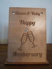 Legno personalizzati per matrimonio biglietto: anniversario di matrimonio, fidanzamento Champagne flauti