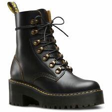 Dr.Martens Leona 7-Eyelet Black Womens Vintage Smooth Mid Heel Combat Boots