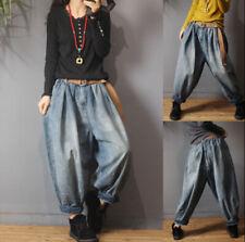 Vintage Women Loose Jeans Elastic Waist Pants Harem Lantern Trousers Denim Retro