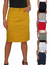 Ladies Stretch Jeans Style Back Slit Knee Length Pencil Skirt 10-22