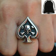 Stainless Steel Skull Crossbones Poker Ace Of Spade Lucky Ring Men's Gift