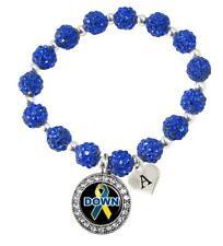 Custom Down Syndrome Awareness Blue Bling Bracelet Jewelry Choose Initial Family