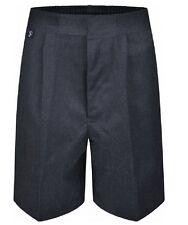 "26-38"" Waist Boys Sturdy Plus Fit School Shorts Generous Elasticated Black Grey"