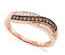 10K Rose Gold Chocolate Brown & White Diamond Ring - Twist Design Band .25ct