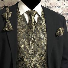 Gold / BLACK Tuxedo Suit Dress Vest Waistcoat & Bow tie & Necktie and Hankie Set