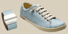 Women's Genuine Python Skin Sky blue Snake Leather Sneakers W/ Matching Bracelet