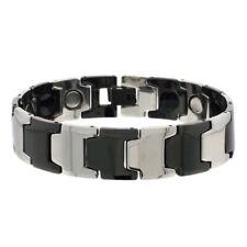 Men Women 15MM Tungsten CarbideWide Two Tone Bar Link Magnetic Bracelet